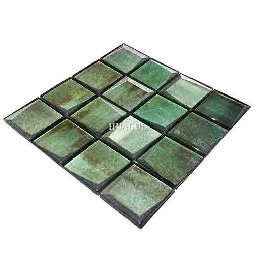 green glass 3d mosaic tile kitchen