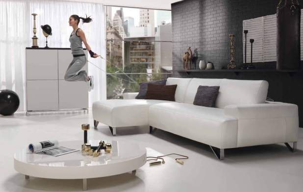 Awesome White Leather Living Room Furniture Contemporary - Home ...