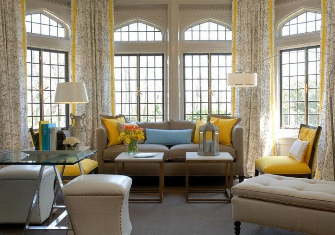View Full Size Yellow And Gray Living Room