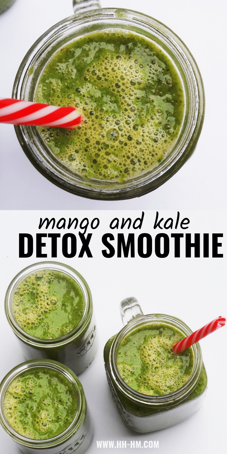 Make this easy detox smoothie for breakfast or healthy snack! Made with mango and kale this healthy recipe is full of antioxidants, great source of fiber, vegan, paleo, gluten-free and perfect for eating clean and if you want to lose weight! | clean eating recipes | healthy smoothie recipes
