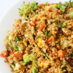 Super tasty 15-Minute Quinoa fried rice! Easy healthy dinner recipe you will gladly eat every single day! This simple quinoa recipe is vegetarian and gluten-free if you use tamari sauce! This recipe also keeps well in the fridge, so if you'd like to meal prep it, you can do so, but you'll need to double the ingredients.