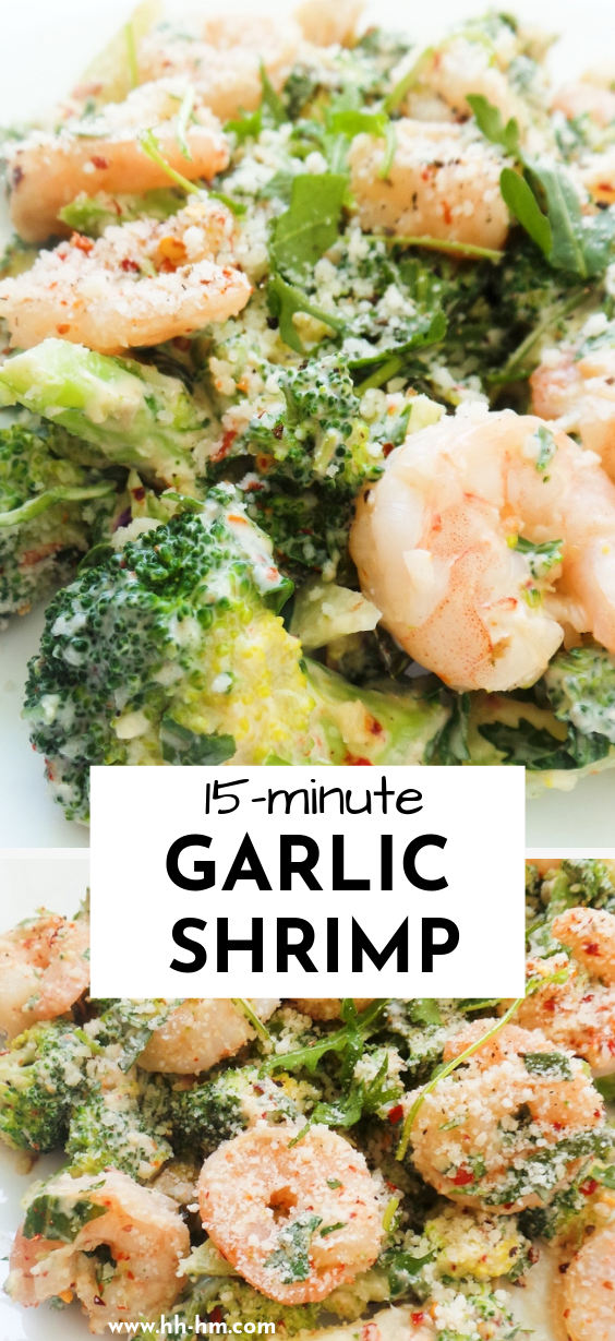 Low carb garlic shrimp. This is a 15-minute healthy dinner recipe that is creamy and delicious and perfect if you're doing the keto diet!