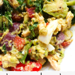 Low carb and paleo avocado chicken salad! This healthy chicken salad recipe requires no mayo or sour cream, is full of flavor, fresh and easy for lunch or as a snack. Wrap it in a lettuce leaf for a quick lettuce wrap with chicken or serve it on toasted bread for lunch or as a more filling clean eating snack!