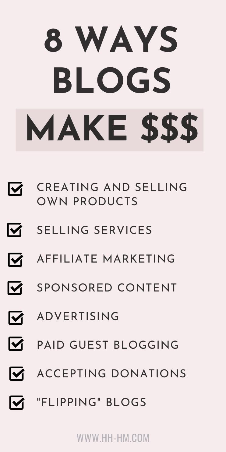 How do blogs make money? 8 ways to make money blogging once you have an audience! Blogging tips and ideas for beginners to help you start a blog and grow your blog traffic
