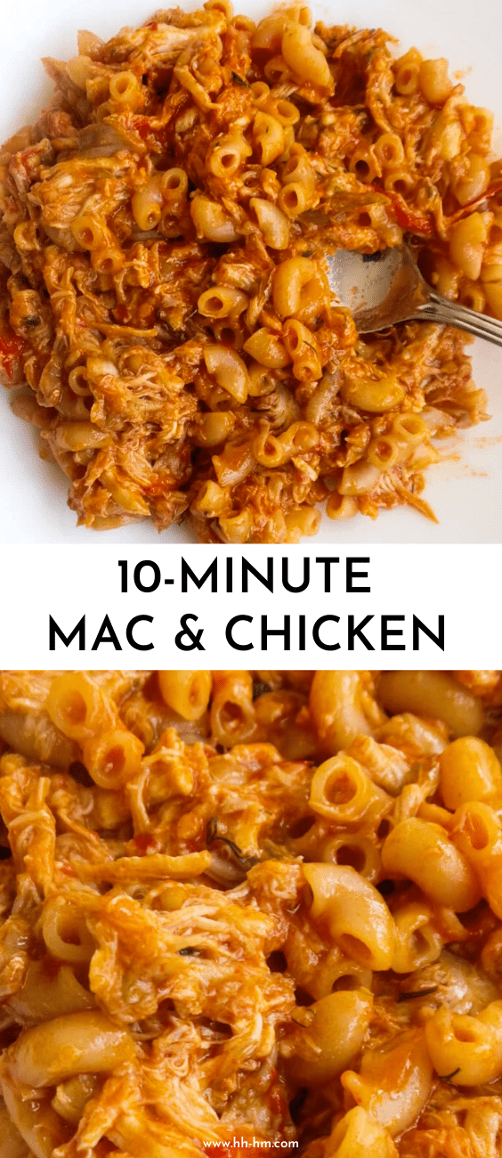 10-Minute Mac & Cheese & Chicken! This quick macaroni recipe is a healthy dinner recipe that you can make with simple ingredients in no time. An easy healthy pasta recipe that is absolutely delicious and good for toddlers too!