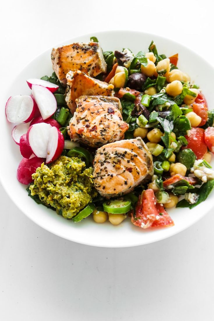 Salmon Bowls With Chickpea Salad
