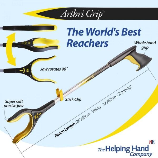 Features of a ADL Essentials Arthri-Grip Pro Reacher. Long or short reach pick up stick