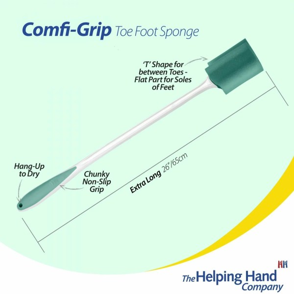 The helping Hand Company Comfi-Grip Toe-Foot Sponge. Bevelled sponge to help clean between the toes, bottom of your feet and top of your feet without the need to bend down if you are recovering from surgery.