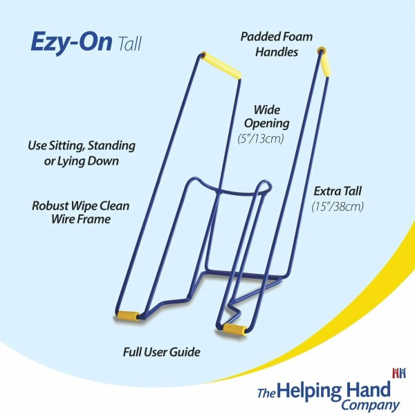 The Helping Hand Ezy-On Tall Compression Sock & Stocking frame. Extra tall frame, Ideal for anyone that struggles reaching and bending when getting dressed. Robust wipe clean wire frame with a wide opening,