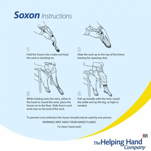The Soxon Sock Aid can be used with both hands or one for independent dressing. Use with everyday socks or stockings.