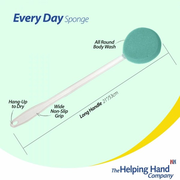 The Helping Hand Everyday sponge features. Ideal for washing in the bath/shower or applying lotion to dry skin