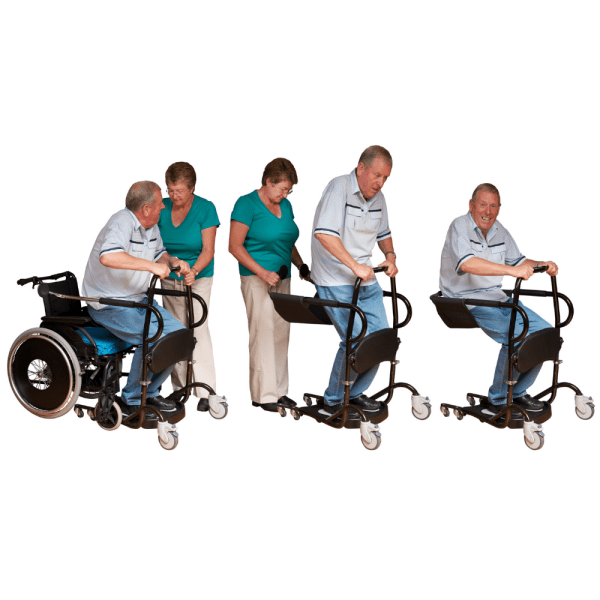 Cricket II Transfer & Transport Aid sit to stand sequence The Cricket II gives those with limited mobility a quick, easy and safe seated transfer from wheelchair to bed to toilet, typically requiring just one carer. It's a great solution for users who can raise themselves to an upright or semi upright position for about 10 seconds, then sit down for transfer.