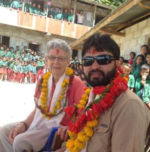 Nola and Hari at a school program in Rasuwa