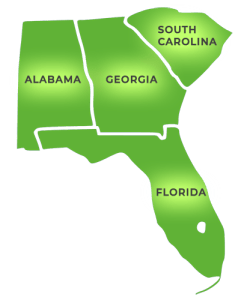 South Eastern States, Florida, Georgia, Alabama and South Carolina serviced by Hi-Reliability