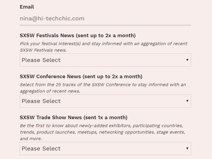 SXSW 2019 Email