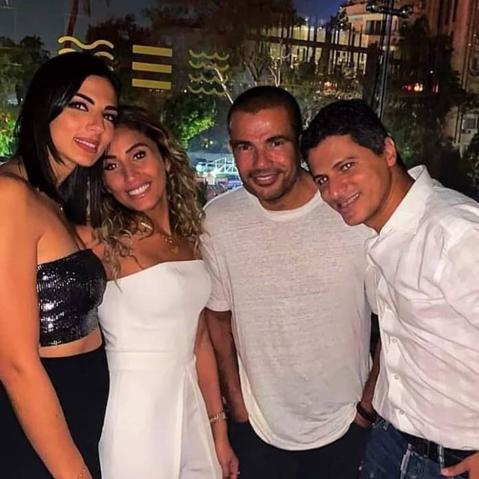 Dina El Sherbini and Amr Diab on the birthday of Amr Mounsi