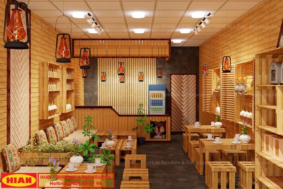 Thiết Kế Quán Cafe Phong Cách Mộc