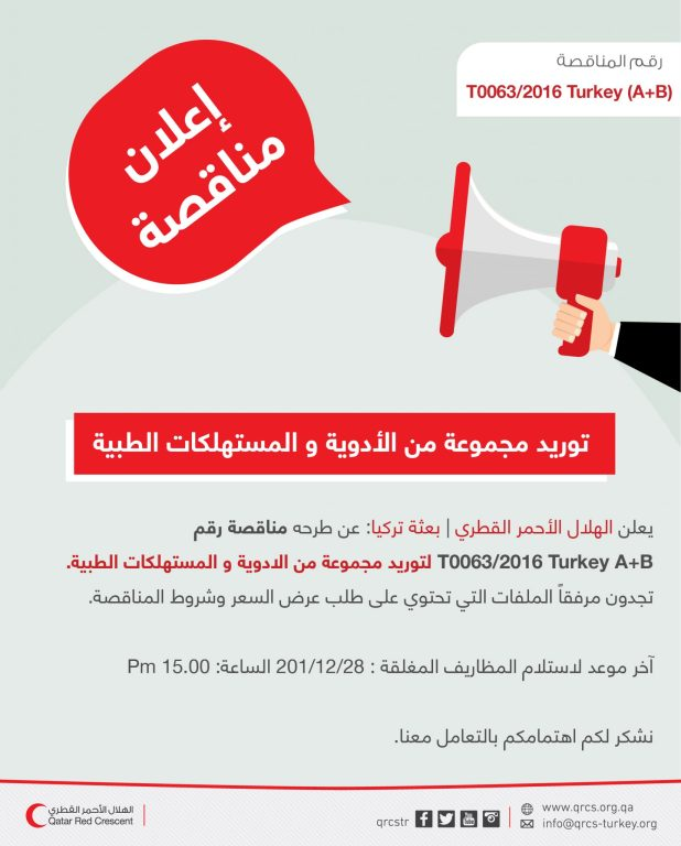 Qatar Red Crescent Medical Consumables and Medicines Tender Announcement