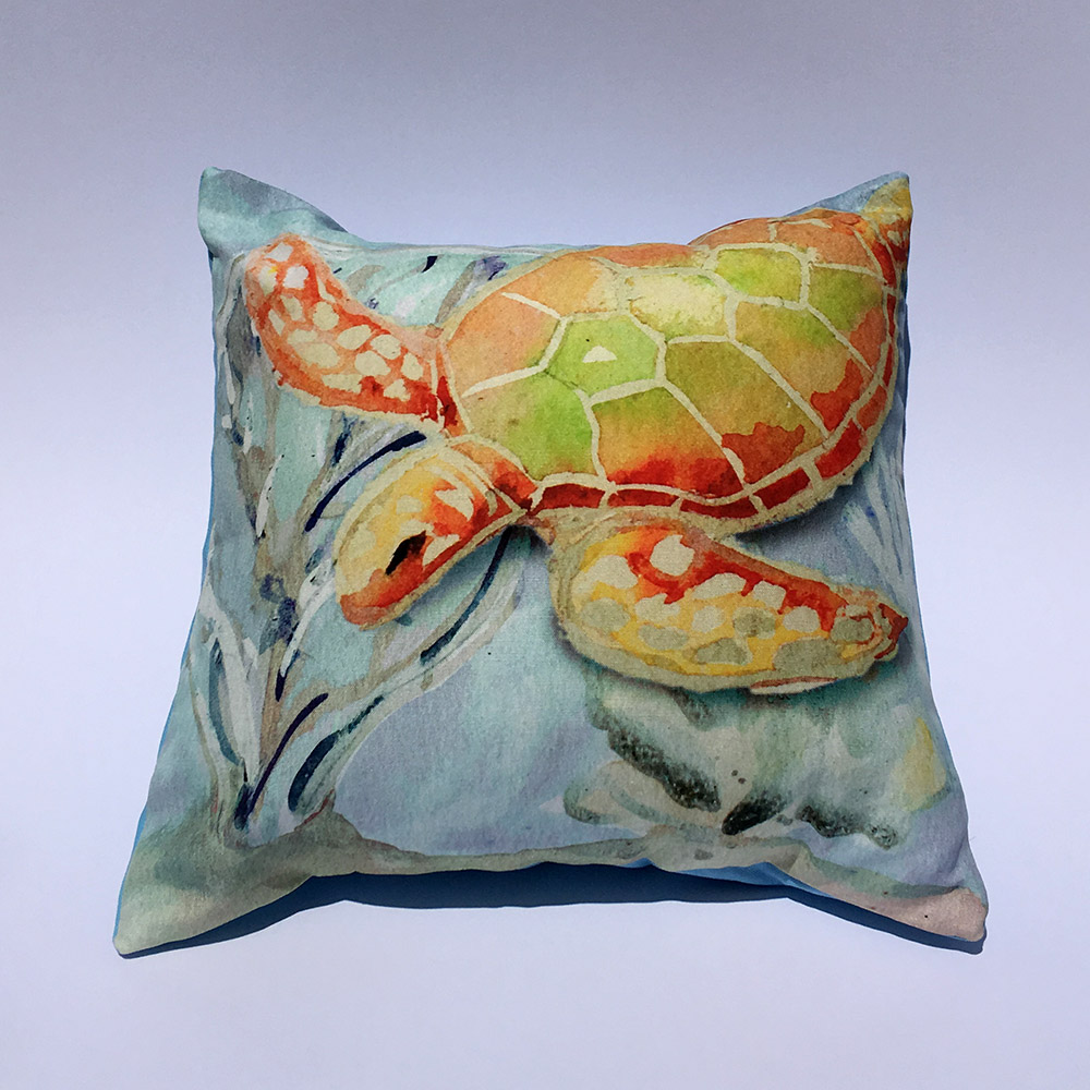 Coastal Home Decor Sea Turtle Coral Throw Pillow Hibiscus Jazz