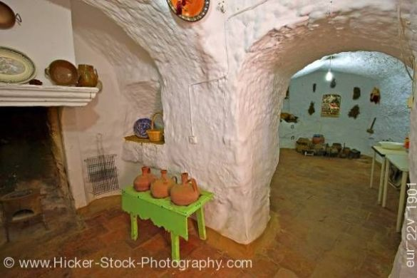 Interior of cave dwelling in town of Guadix Province of Granada     Stock photo  Interior of cave dwelling in town of Guadix Province of  Granada Andalusia Spain