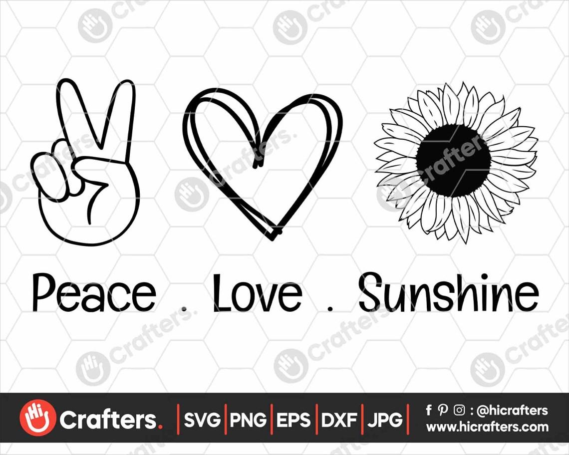 Download Peace Love Sunshine SVG, Sunflower SVG PNG | Hi Crafters