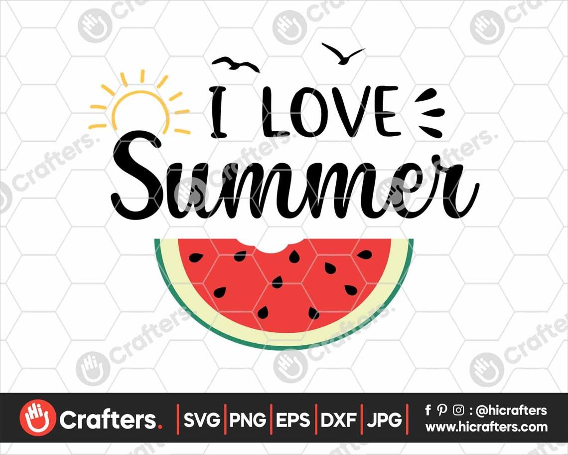 Download I Love Summer SVG, Watermelon SVG File For Cricut   Hi ...