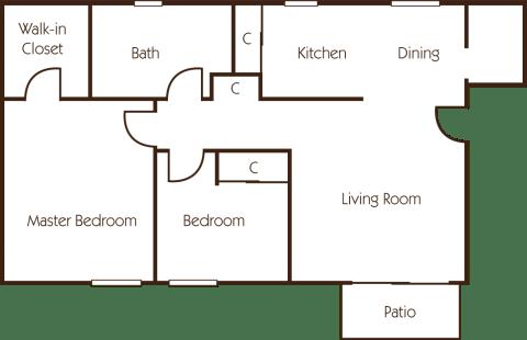 2 Bed / 1 Bath / 1,015 sq ft / Deposit: $400 / Rent: $1,295