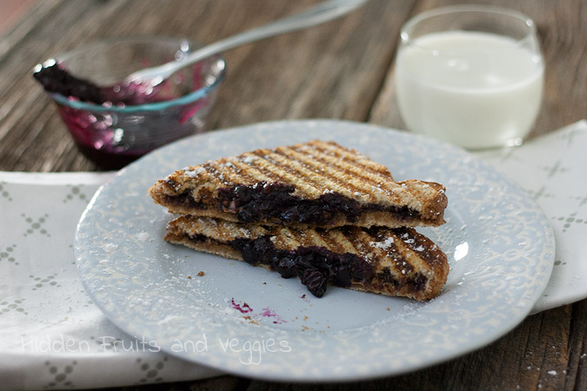 Mashed Blueberry Panini with Peanut Butter and Nutella @hiddenfruitnveg