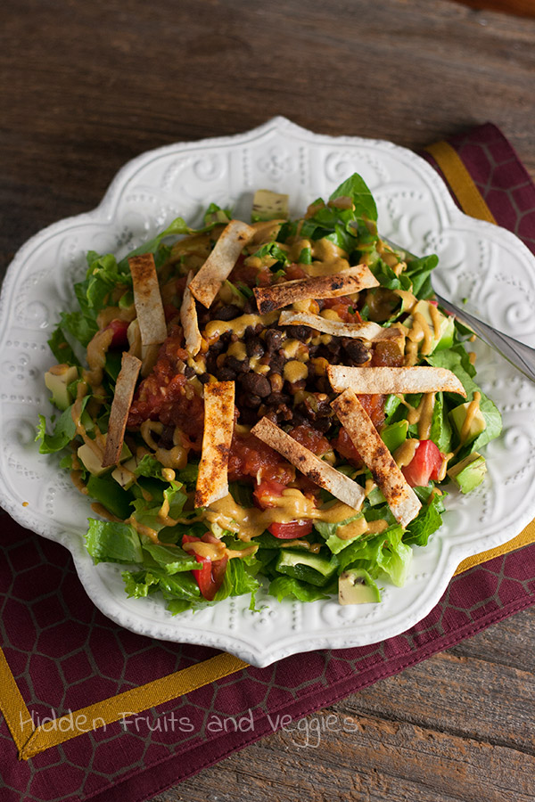 Black Bean Clean-Out-The-Fridge Taco Salad @hiddenfruitnveg