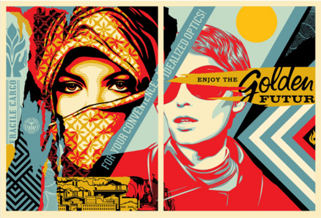 """Golden Future for Some"" new set of prints by Shepard Fairey."