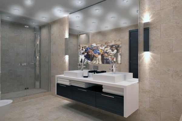 Frameless Vanity Mirror TV With Wall Sconces