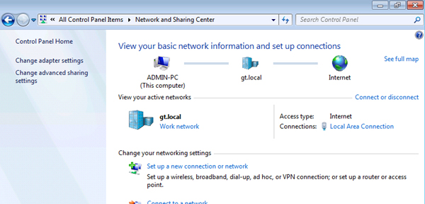 Click on Change adapter settings.