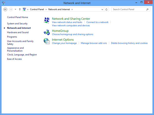 Windows 8 Network and Sharing Center