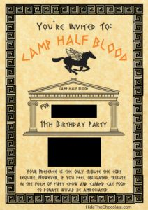 Percy Jackson Invite