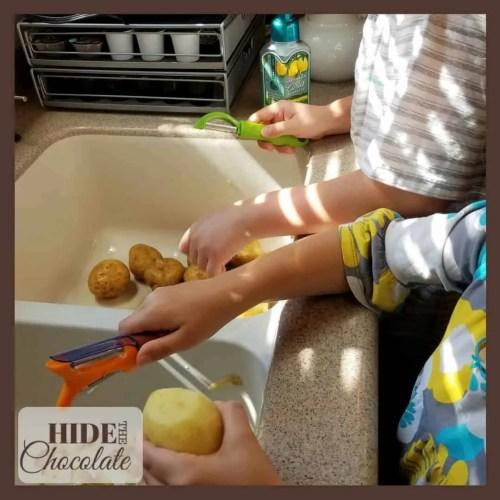 Vegetable soup potato peeling