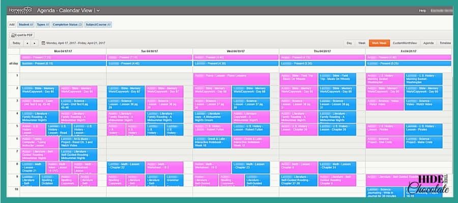 Low-Stress Daily Homeschool Planning and Scheduling with Homeschool Tracker- Calendar