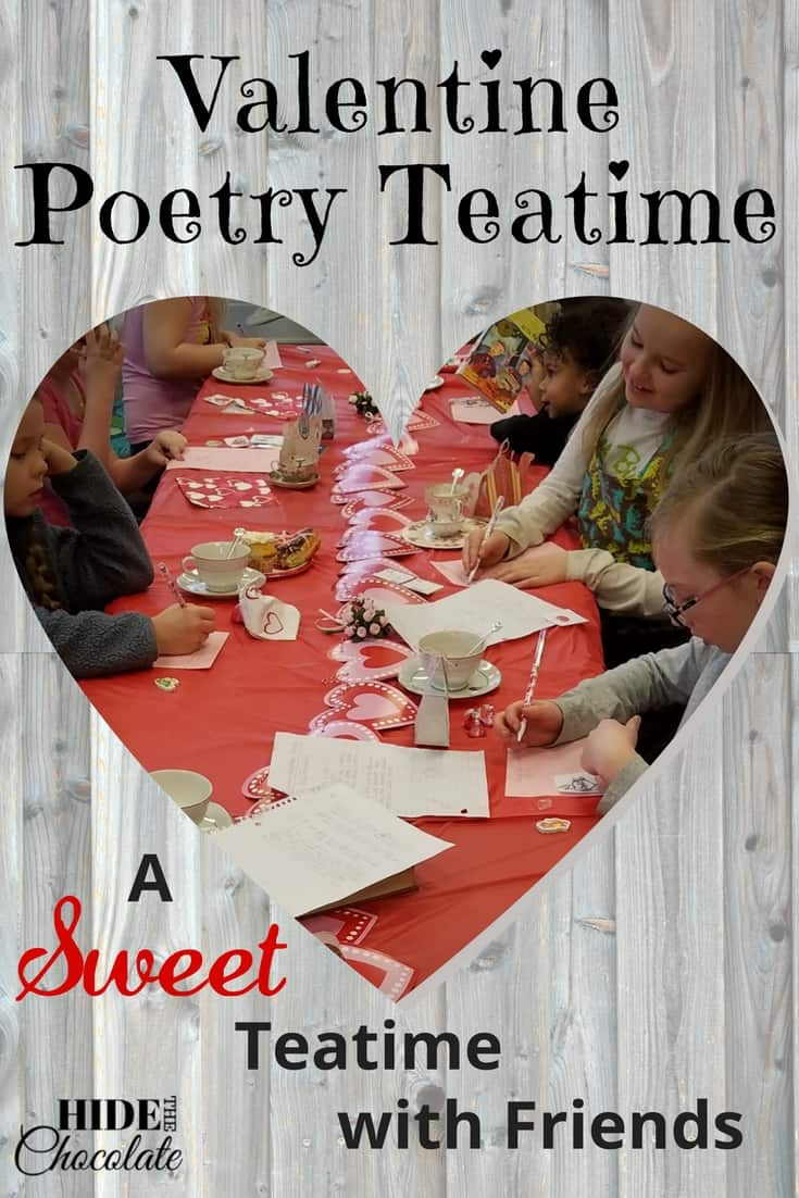 Shel Silverstein poems, Valentine tea cozies, giant helium hearts, heart-shaped donuts and poetry free-writes made this Valentine Poetry Teatime a