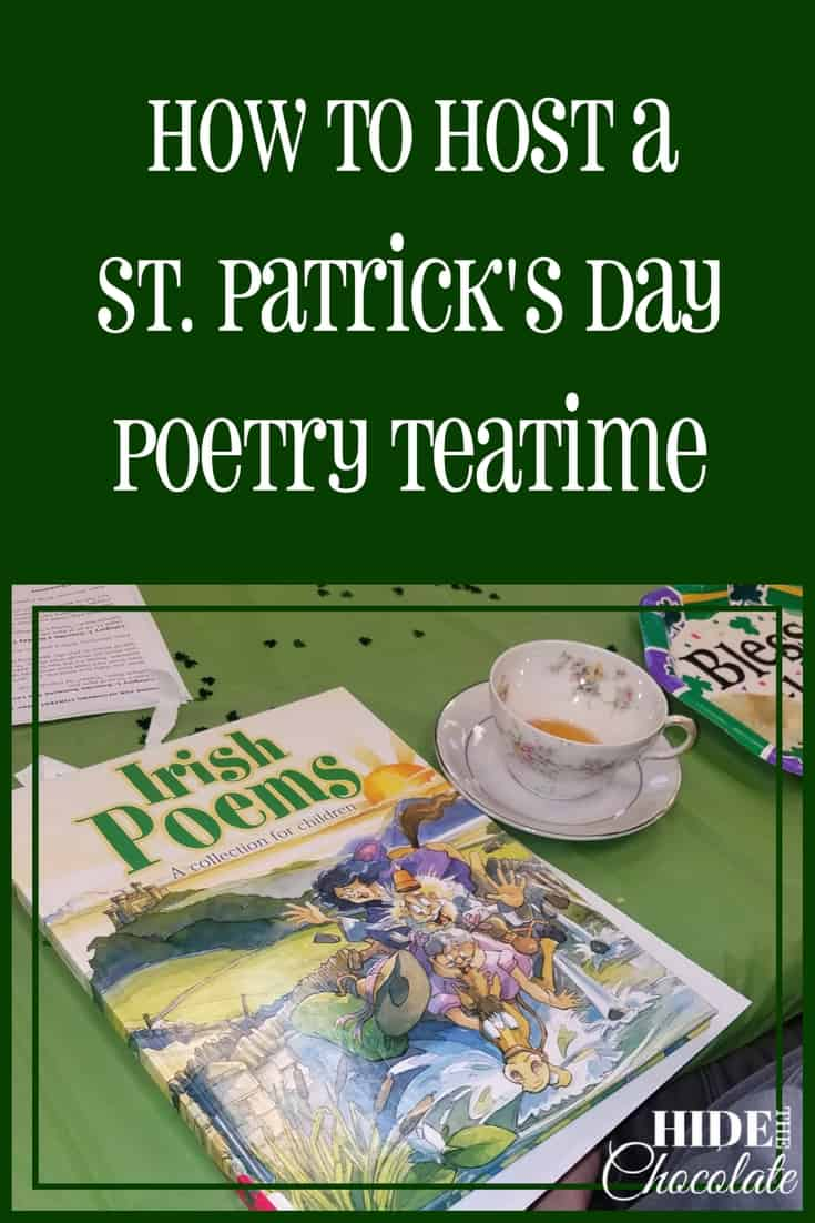 This month our poetry teatime theme was St. Patrick's day. So, we pulled out everything green, decorated the library, and invited our friends to share their favorite St. Patrick's Day poems while we drank green tea and munched on green snacks.