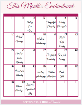 A Day in the Life of a Relaxed Charlotte Mason Homeschooler - Calendar