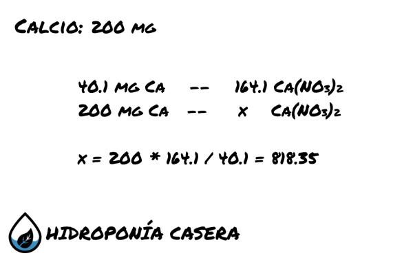 calcio nitrato de calcio, calculo sal hidroponia