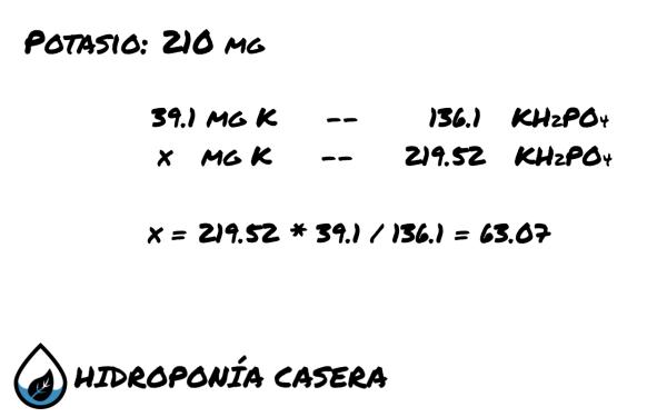 potasio fosfato de potasio, calculo hidroponico