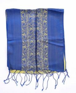 Double Layer Women Scarf Natural Silkworm Blue