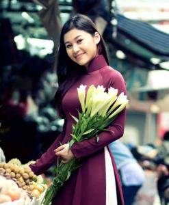 Light Maroon Silk Ao Dai White Silk