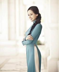 Blue Ao Dai Vietnam Long Sleeves