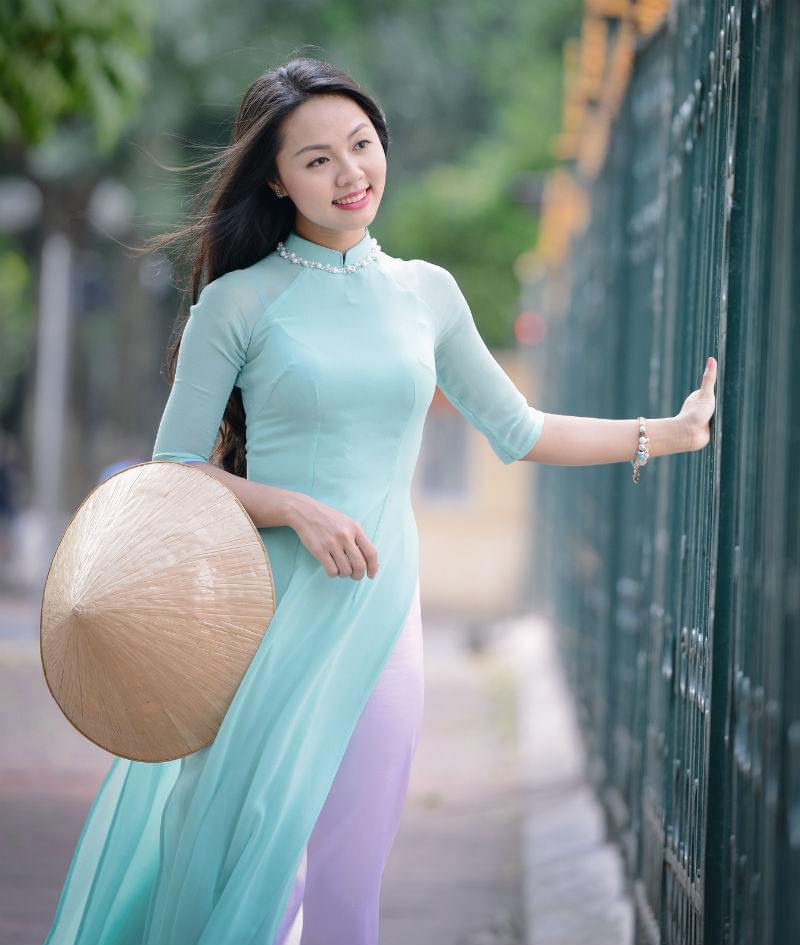 Ao Dai Vietnam Short Sleeves White Blue Mix Color