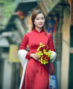 Ao Dai Vietnam Red Silk