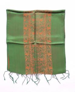 Grass Green Natural Silkworm Scarf Double Layers