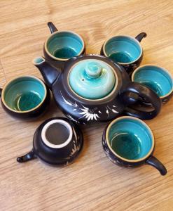 Handmade Tea Set Bat Trang Green
