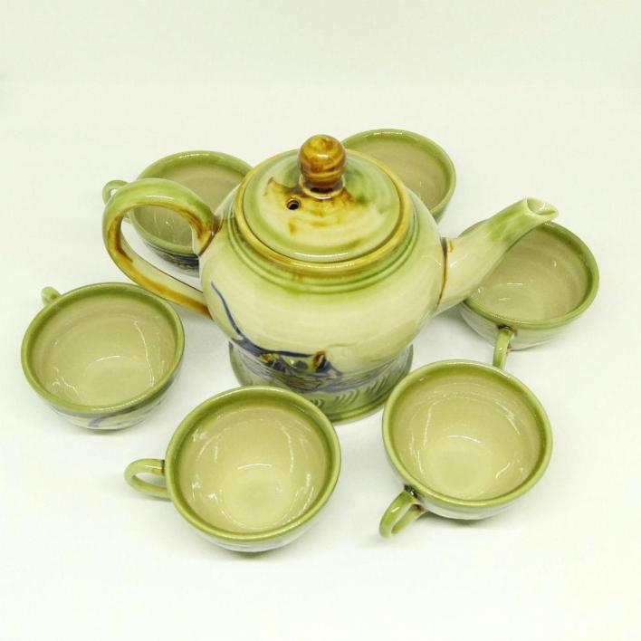 Vietnamese Pottery Bat Trang Tea Set