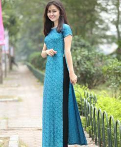 ao dai vietnam silkworm ice blue 2